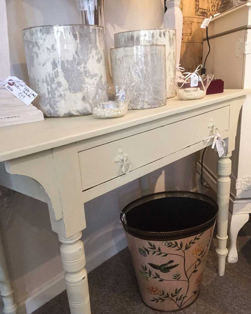 Vintage side table painted in Calico